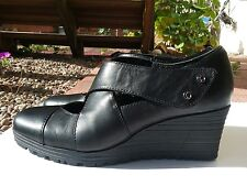 Earth Spindrift Shoes Wedge Heel Black Mary Jane leather Cross Strap Women's  8B