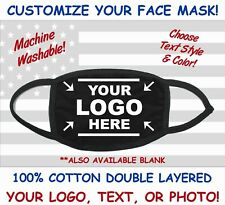 CUSTOM FACE MASK PERSONALIZED FACE MASK COTTON UNISEX YOUR TEXT LOGO PHOTO