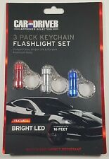 """3 Car & Driver LED Flashlight Keychains Water  and Impact Resistant 16"""" Range"""