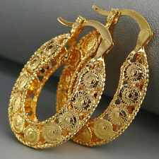 1 Pair Hot 18K Yellow Gold Filled Dangle Hoop Earrings Engagement Women Jewelry