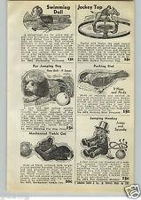 1940 PAPER AD Horse & Jockey Toy Top Mechanical Swimming Doll Monkey Cat Dog
