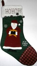 "Christmas Stocking  18 1/4"" x 10"" HO  HO  HO  Primitive Snowman"