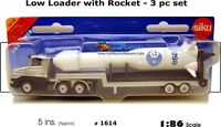 SiKu Low Loader with Rocket - 3 pc set 1614 Diecast and Plastic NIB Colours Vary