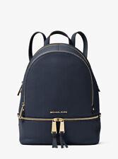 Michael Kors Rhea Medium Admiral Navy Blue Leather Backpack FACTORY SEALED
