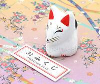 Japan Inari Mini Fox Figure & Fortune Slip Omikuji Bilingual English & Japanese