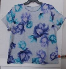Croft & Barrow Size 1X Heather gray bright floral knit top, short sleeve NWT