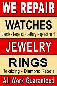 "We Repair Watch Jewelry ring 24""x36"" advertising poster sign Jewelry Repair"