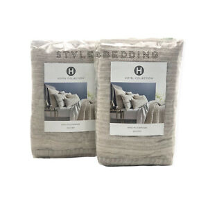 Hotel Collection Honeycomb Stripe Oatmeal Beige Quilted KING Shams NEW - PAIR