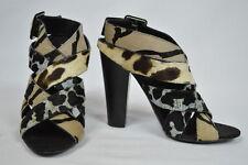 Giuseppe Zanotti shoes heels criss cross animal print real fur 37.5 7.5