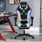 US Computer Gaming Chair Recliner W/Massage Function Bluetooth Speaker RGB Light