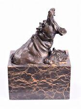 Bronze Skulptur Flusspferd Hilpferd auf Marmorsockel