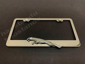 "1x ""JaguarLEAPER"" 3D Emblem STAINLESS STEEL License Plate Frame RUST FREE (L)"