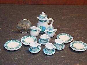 Dollhouse Miniature Tea Set Blue Green 17 pc Teapot Plates 1:12 inch scale E36