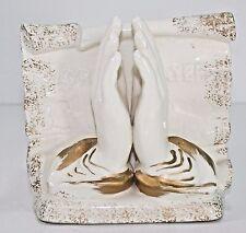 Lefton Lord's Prayer Planter #4087 Praying Hands Gilt Trim 1960's-80's