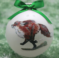 rW009 Hand-made Christmas Ornament - fast running to left red Fox