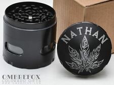 Tribal Pot Leaf Personalized Name Black 4 Layer Herb Grinder Glass Windows