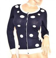 Pull femme bleu pois blanc cardigan à manches longues pullover underjacket F70