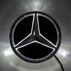 Mirror Car Led Badge Star Grill Front Logo Light For Benz C Class 06-13 Snap In