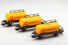 Märklin H0 Set 3 Clásico Vagón Cisterna Shell Suciedad / Kratzermängel o