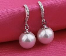 Dangle White Pearl 18k White Gold Filled Saphire Xmas Earrings Ladies Gift Party