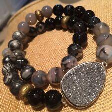 NEW Silpada Ode To Geode Double Stretch Bracelet Hematite Druzy Brass Sterling