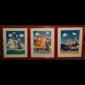 3 VTG Postman Pat Picture Prints Wooden Framed Nursery Art or Childrens Playroom
