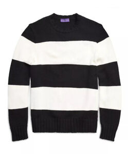$1495 Ralph Lauren Purple Label Striped Knit Merino Wool Jumper Sweater M L