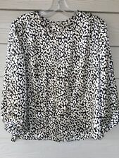 J Crew Ivory Black Silk Print 3/4 Sleeve Button Back Blouse Top Women's Size 6