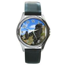 Easter Island Rapa Nui Moai Round Metal Watch Leather Band New!