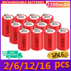 Lot of  1.2V 2200mAh NiCd 4/5 SubC Sub C &Tab Red Ni-Cd Rechargeable Battery
