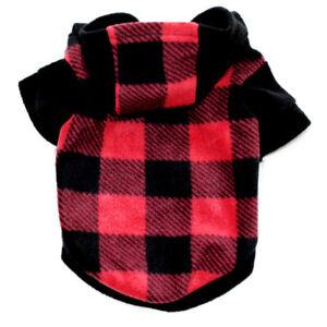 Winter Dog Coats for Small Dogs Chihuahua Warm Fleece Plaid Pet Hoodie Jacket