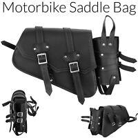 New Motorcycle Side Saddle Bag Waterproof PU Leather Motorbike Luggage Bag UK