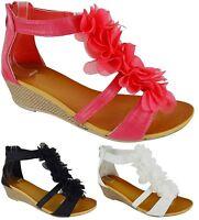 LADIES WOMENS FLOWER LOW MID HEEL WEDGE STRAPPY SUMMER BEACH SANDALS SIZE 3-8
