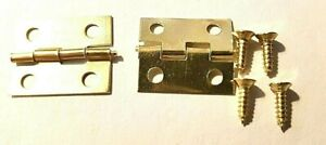 Small Hinges With Screws Brassed Jewellery Box Dolls House 2, 8, 14, 22 or 98