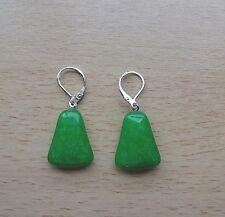 Simple JADE gemstone drop  EAR RINGS St Silver Gift wrapped