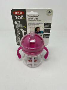 NEW OXO Tot Baby 4+mos Transitions Straw Cup w/ Removeable Handles 6 Ounce, Pink