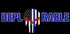 Wholesale Lot of 6 Deplorable USA Thin Blue Line Skull (Red Eyes) Bumper Sticker