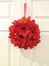"SILK RED AMARYLLIS 11"" HANGING WREATH  CANDLE RING DOOR TABLE DECOR"