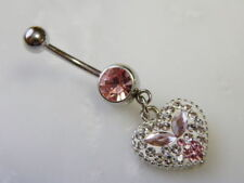 Heart Crystal Explosion Pink Gem Belly Ring Navel Naval ( w902)