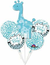 Anagram IT'S A BOY Giraffe BLUE - Foil Balloon Bouquet