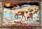 """Large Velvet Caribou/Stags Wildlife Wall Hanging Tapestry 47"""" X 70"""" Vintage"""
