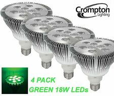 4 x GREEN Coloured LED PAR38 Floodlight Globes / Bulbs 18W 240V E27