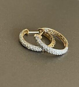 9ct Yellow Gold Diamond Earrings 0.50ct Hoops Half Carat 1/2ct