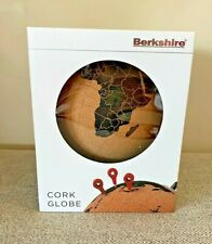 "NIB BERKSHIRE CORK & IRON GLOBE W/ PINS FOR LOCATIONS VISITED 7.5"" DIAMETER"