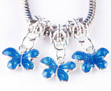 3pc painted blue butterfly big hole beads European charm pendant bracelet A783