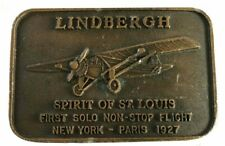 Vtg Spirit of St Louis Lindbergh Belt Buckle Airplane Commemorative flying pilot