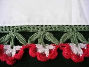 New White Hand Crochet trim PillowCase (2)  100% Cotton Sateen Standard Pair