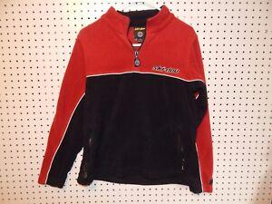 Womens ski-doo 1/4 zip fleece pullover -red black white - size medium