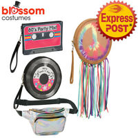 AC792 Decades 50s 60s 70s 80s Bum Bag Costume Handbag Hippie Cassette Tambourine