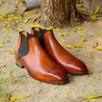 Handmade Chelsea Boots Tan Brown Fashion Party Casual Real Calf Leather Shoes